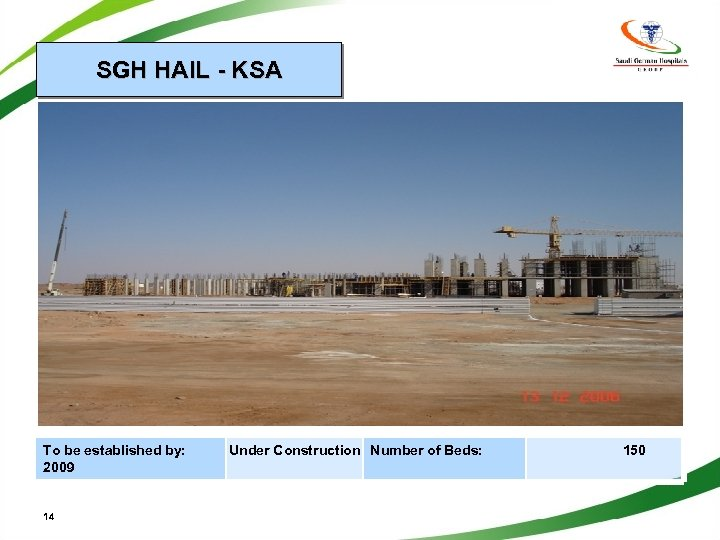 SGH HAIL - KSA To be established by: 2009 14 Under Construction Number of