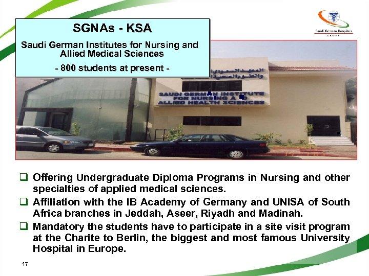 SGNAs - KSA Saudi German Institutes for Nursing and Allied Medical Sciences - 800