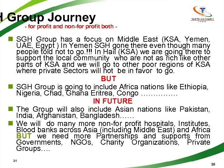 H Group Journey - for profit and non-for profit both - n SGH Group