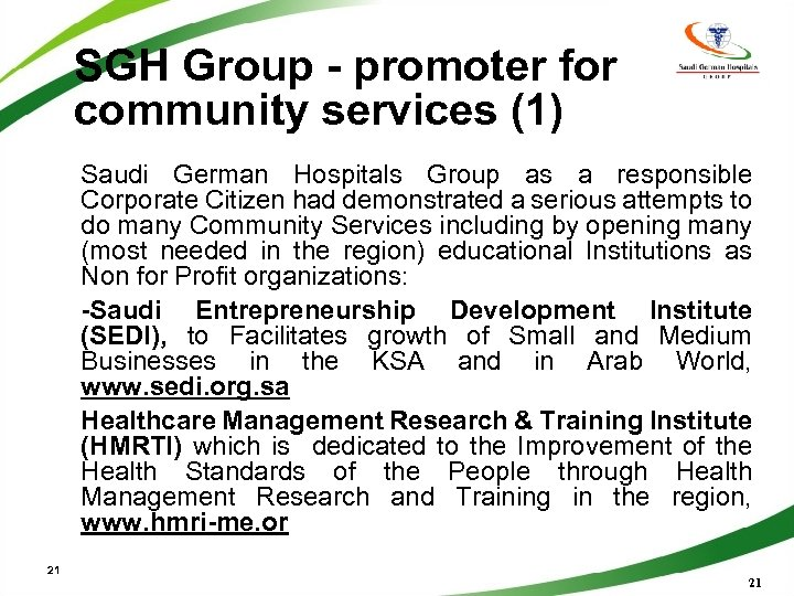 SGH Group - promoter for community services (1) Saudi German Hospitals Group as a