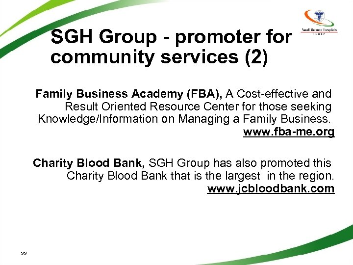 SGH Group - promoter for community services (2) Family Business Academy (FBA), A Cost-effective