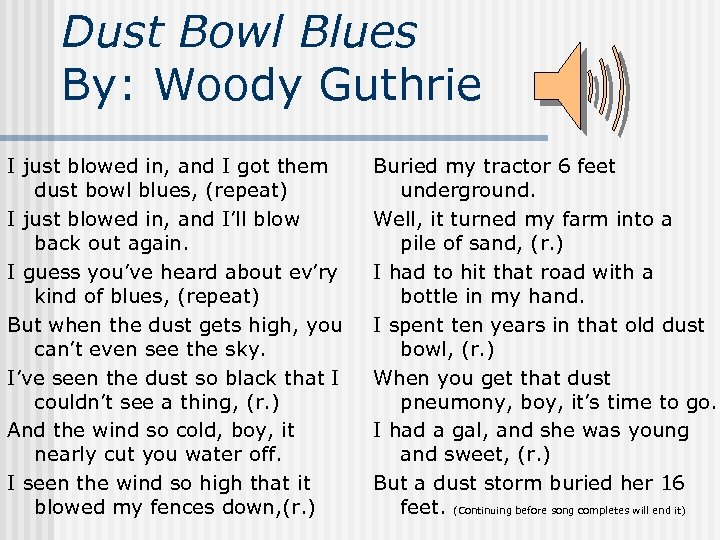 Dust Bowl Blues By: Woody Guthrie I just blowed in, and I got them