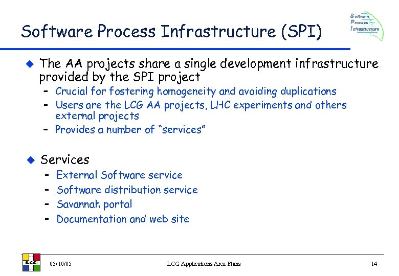 Software Process Infrastructure (SPI) u The AA projects share a single development infrastructure provided