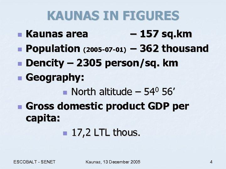 KAUNAS IN FIGURES n n n Kaunas area – 157 sq. km Population (2005
