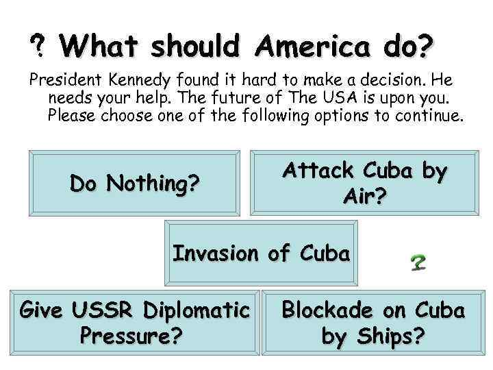 What should America do? President Kennedy found it hard to make a decision. He