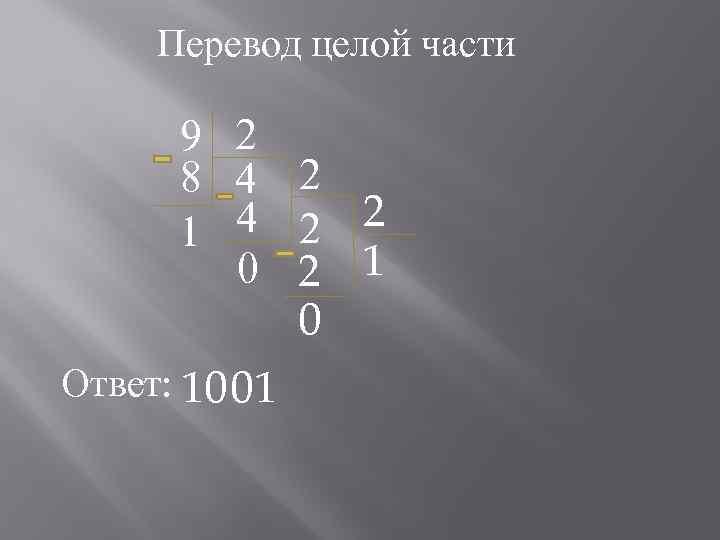 Перевод целой части 9 2 8 4 2 2 1 0 Ответ: 1001