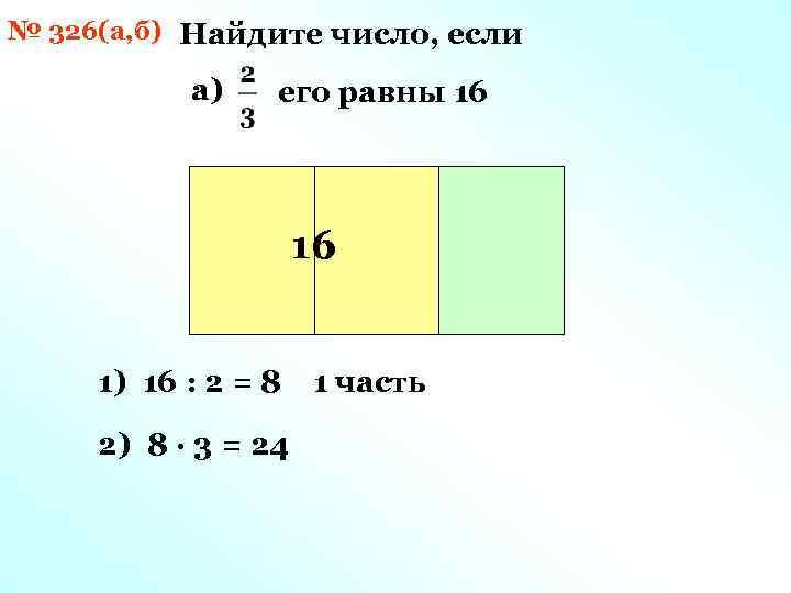 № 326(а, б) Найдите число, если а) его равны 16 16 1) 16 :