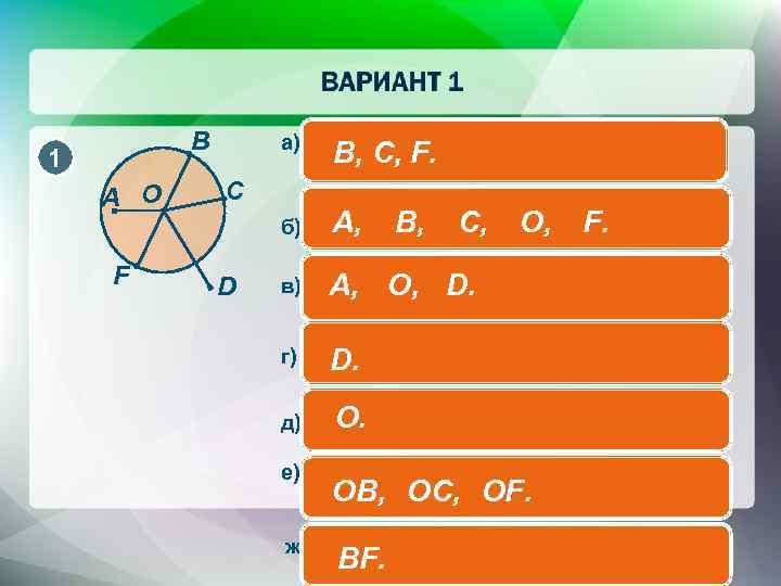 B 1 A O F C D а) точки, которые принадлежат B, C, F.