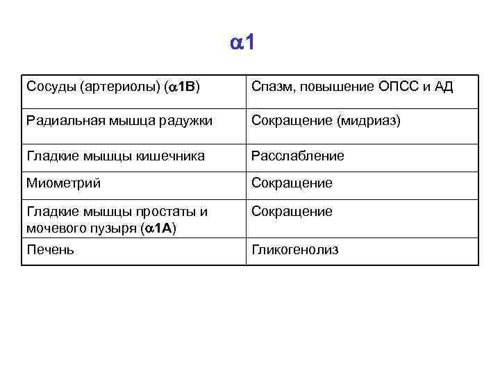 1 Сосуды (артериолы) ( 1 В) Спазм, повышение ОПСС и АД Радиальная мышца