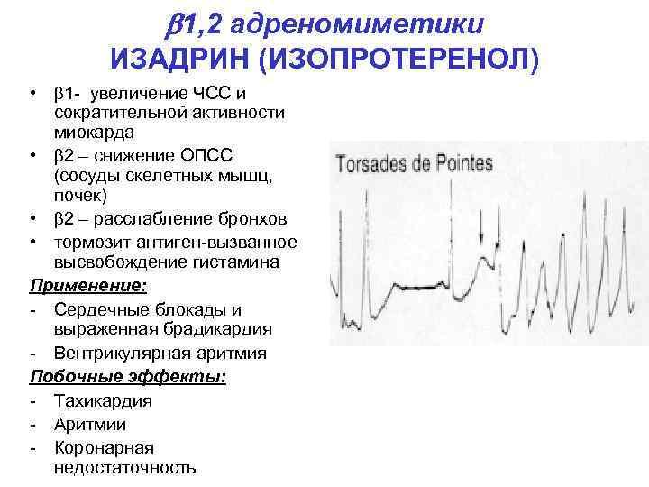 1, 2 адреномиметики ИЗАДРИН (ИЗОПРОТЕРЕНОЛ) • 1 - увеличение ЧСС и сократительной активности