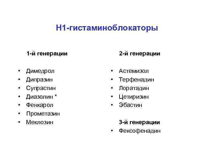 Н 1 -гистаминоблокаторы 1 -й генерации • • Димедрол Дипразин Супрастин Диазолин * Фенкарол