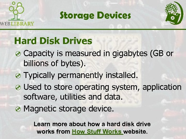 Storage Devices Hard Disk Drives ³ Capacity is measured in gigabytes (GB or billions