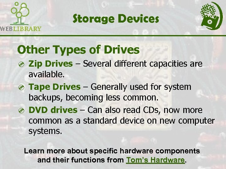 Storage Devices Other Types of Drives ³ Zip Drives – Several different capacities are