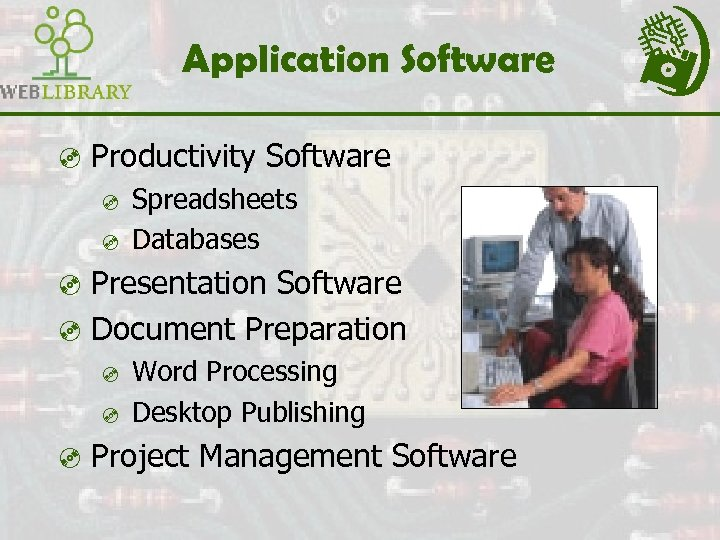 Application Software ³ Productivity Software ³ Spreadsheets ³ Databases ³ Presentation Software ³ Document