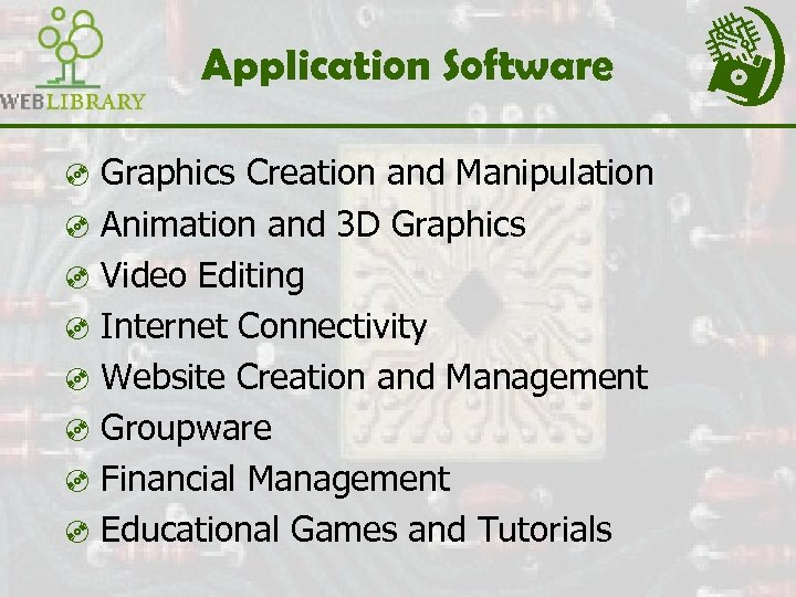 Application Software ³ Graphics Creation and Manipulation ³ Animation and 3 D Graphics ³