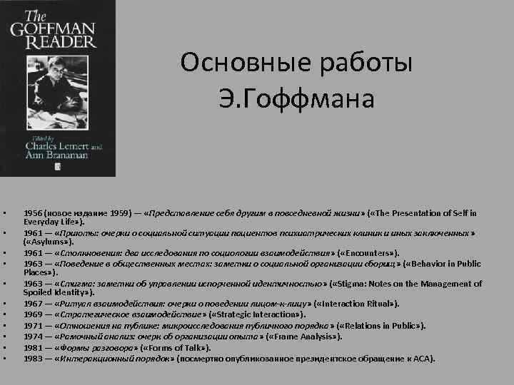 Основные работы Э. Гоффмана • • • 1956 (новое издание 1959) — «Представление себя