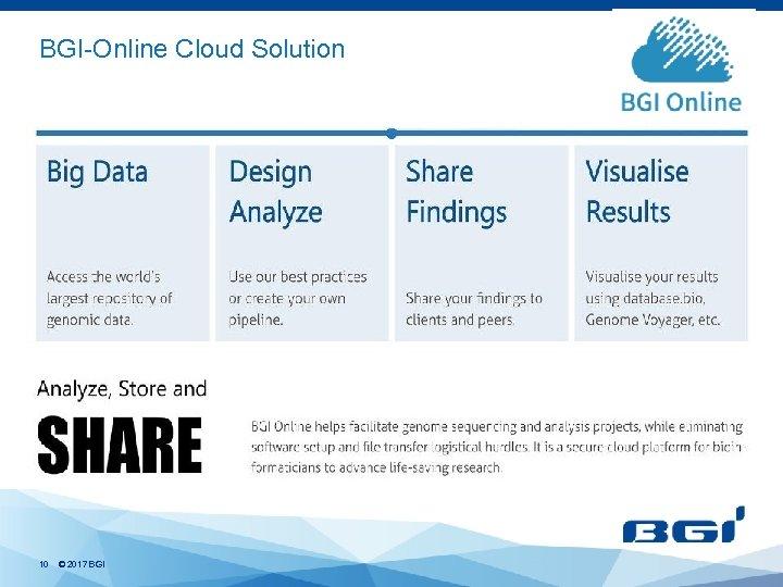 BGI-Online Cloud Solution 10 © 2017 BGI