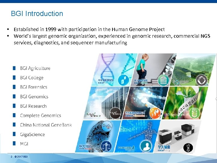 BGI Introduction • Established in 1999 with participation in the Human Genome Project •