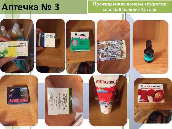 Аптечка № 3 Проживающих помимо студентки молодой человек 24 года