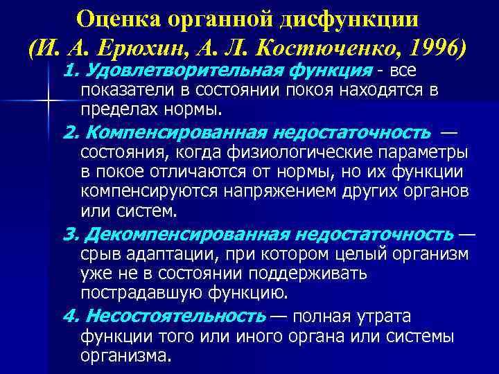 Оценка органной дисфункции (И. А. Ерюхин, А. Л. Костюченко, 1996) 1. Удовлетворительная функция -