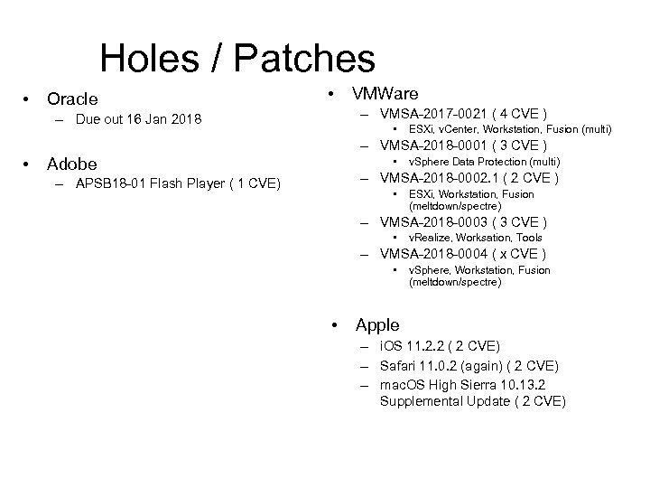 Holes / Patches • Oracle • VMWare – VMSA-2017 -0021 ( 4 CVE )