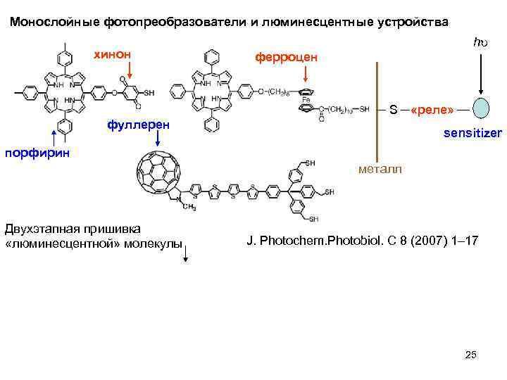 Монослойные фотопреобразователи и люминесцентные устройства хинон h ферроцен S фуллерен «реле» sensitizer порфирин металл