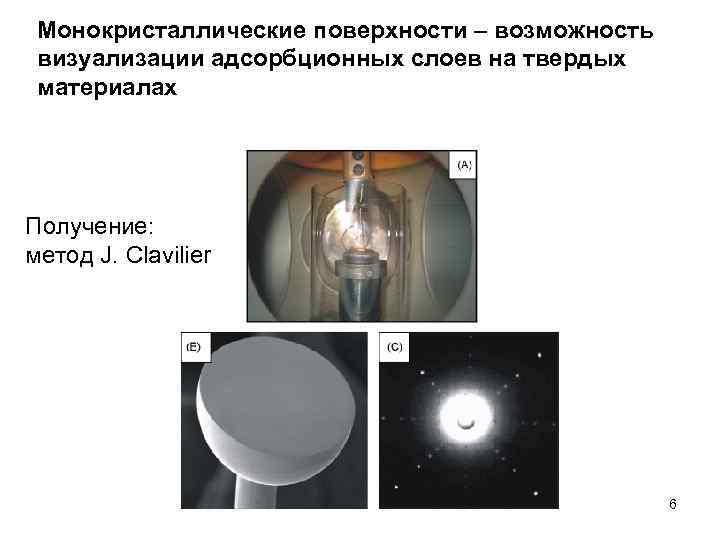 Монокристаллические поверхности – возможность визуализации адсорбционных слоев на твердых материалах Получение: метод J. Clavilier