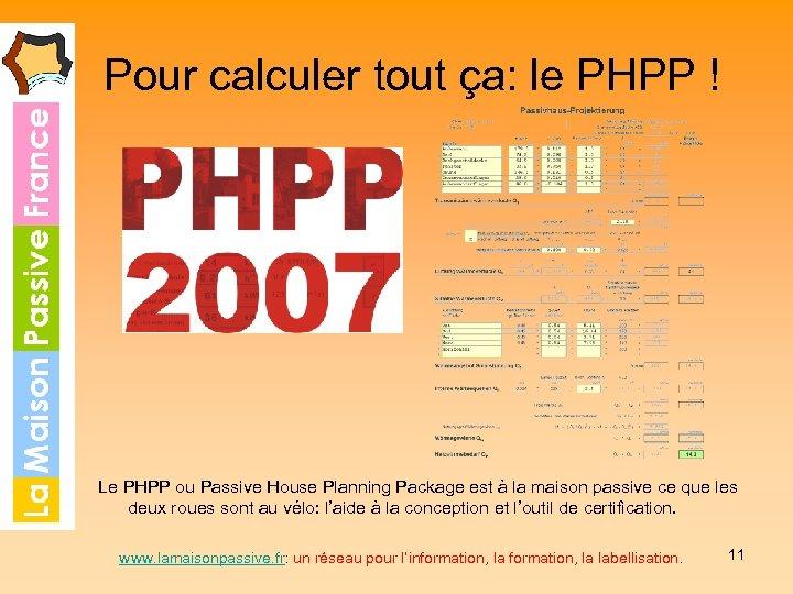 Pour calculer tout ça: le PHPP ! Le PHPP ou Passive House Planning Package