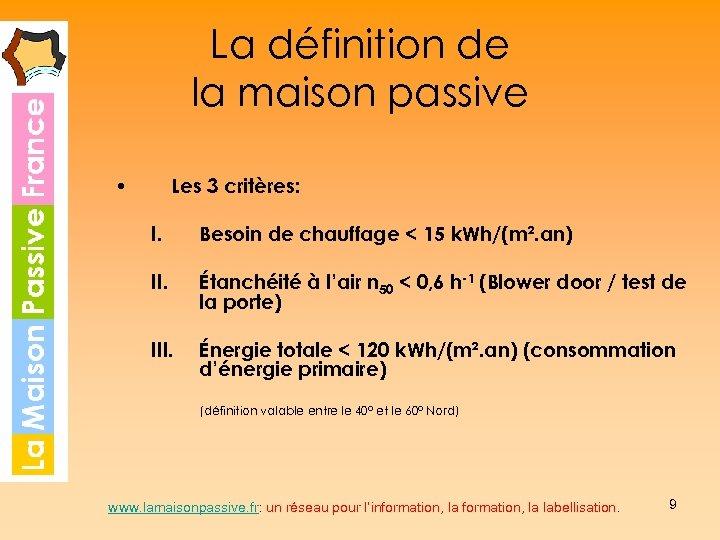 La définition de la maison passive • Les 3 critères: I. Besoin de chauffage