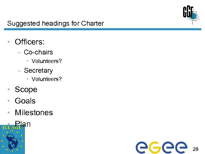 Suggested headings for Charter • Officers: – Co-chairs • Volunteers? – Secretary • Volunteers?