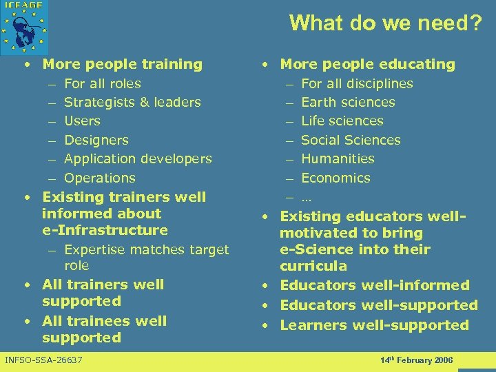 What do we need? • More people training – For all roles – Strategists