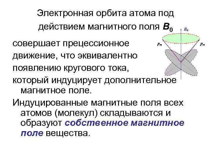 Электронная орбита атома под действием магнитного поля В 0 совершает прецессионное движение, что эквивалентно