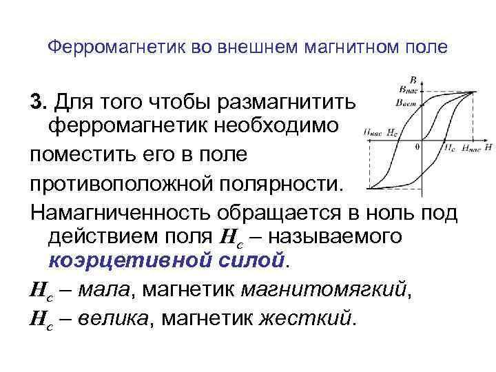 Ферромагнетик во внешнем магнитном поле 3. Для того чтобы размагнитить ферромагнетик необходимо поместить его