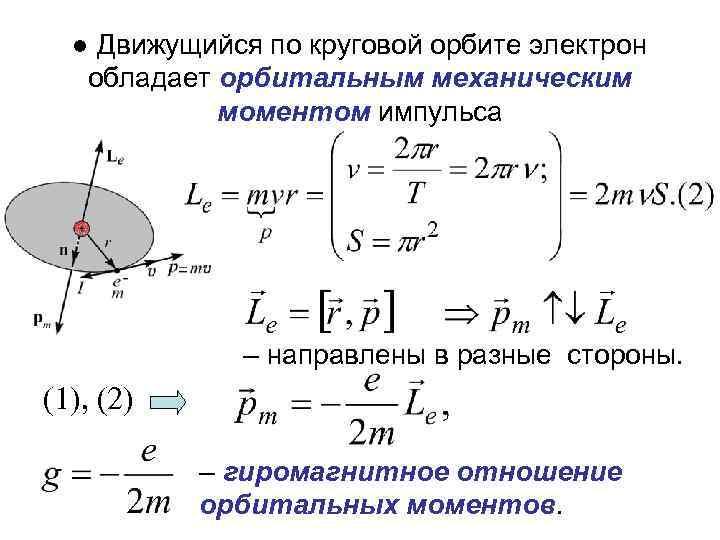 ● Движущийся по круговой орбите электрон обладает орбитальным механическим моментом импульса – направлены в