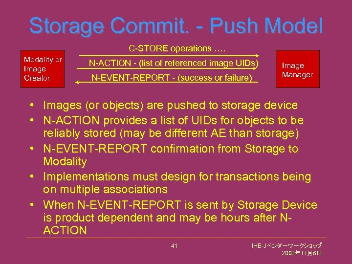 Storage Commit. - Push Model C-STORE operations …. Modality or Image Creator N-ACTION -