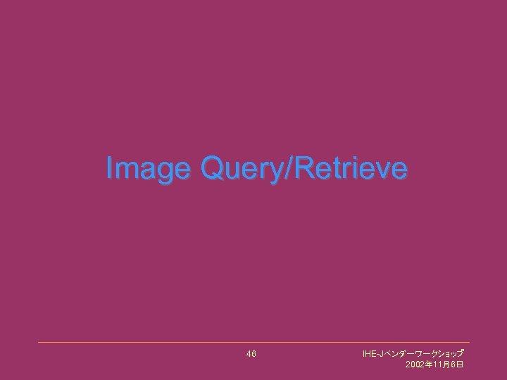 Image Query/Retrieve 46 IHE-Jベンダーワークショップ 2002年 11月6日