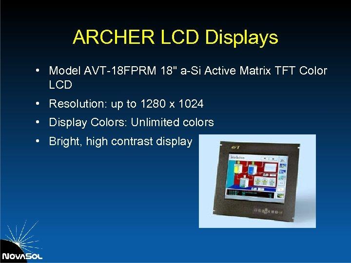 ARCHER LCD Displays • Model AVT-18 FPRM 18