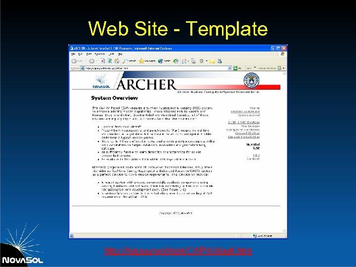 Web Site - Template http: //hapuu/webtest/CAP/default. htm