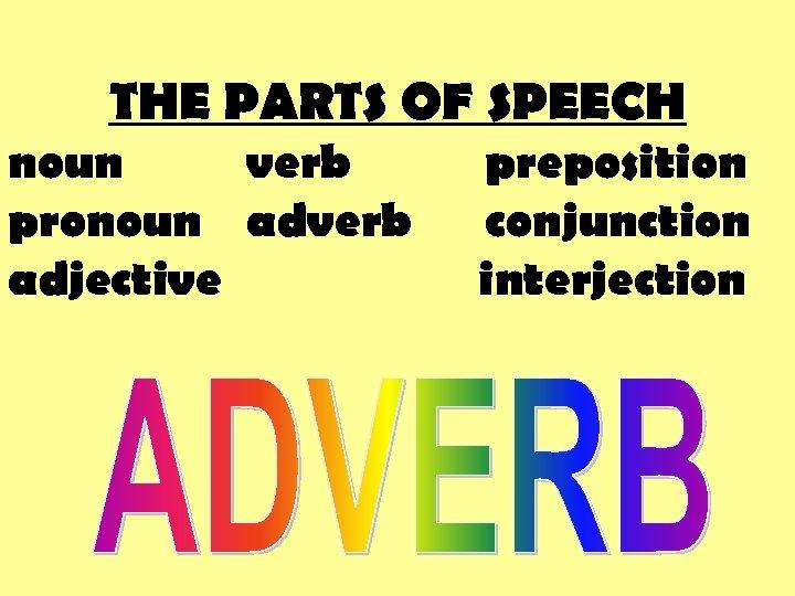 THE PARTS OF SPEECH noun verb pronoun adverb adjective preposition conjunction interjection