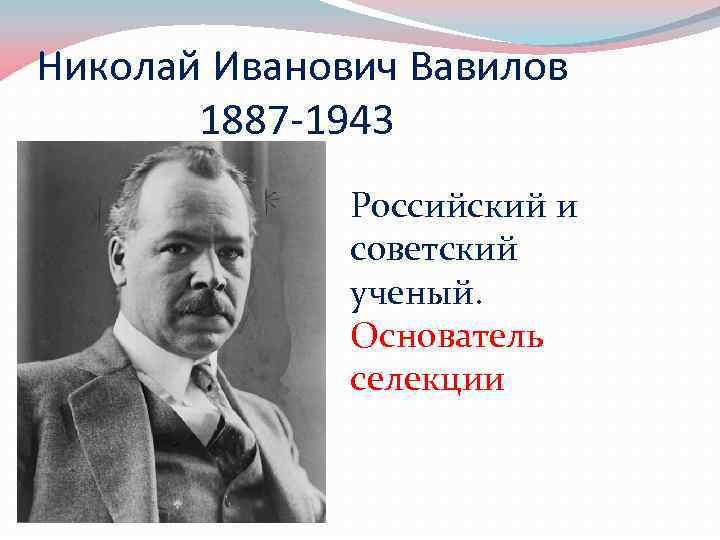 Николай Иванович Вавилов 1887 -1943 Российский и советский ученый. Основатель селекции