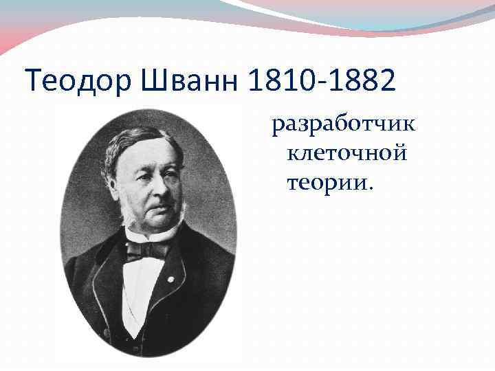Теодор Шванн 1810 -1882 разработчик клеточной теории.