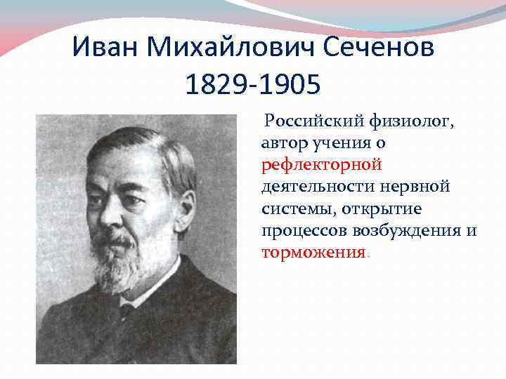 Иван Михайлович Сеченов 1829 -1905 Российский физиолог, автор учения о рефлекторной деятельности нервной системы,