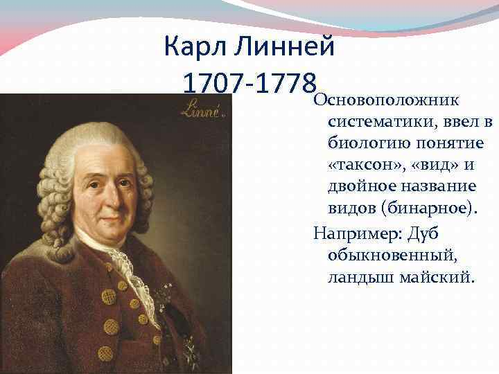 Карл Линней 1707 -1778 Основоположник систематики, ввел в биологию понятие «таксон» , «вид» и