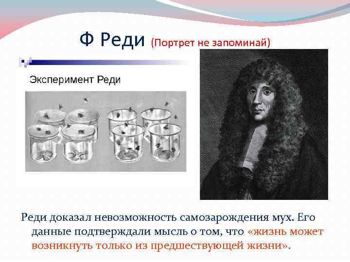 Ф Реди (Портрет не запоминай) Реди доказал невозможность самозарождения мух. Его данные подтверждали мысль