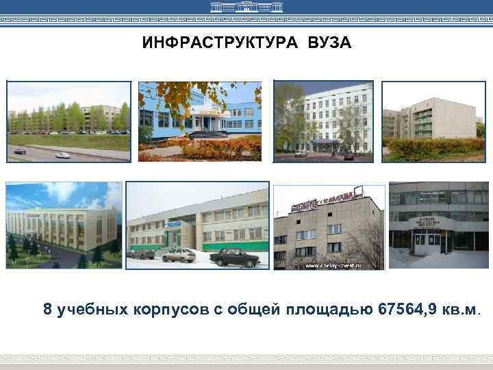 ИНФРАСТРУКТУРА ВУЗА 8 учебных корпусов с общей площадью 67564, 9 кв. м.