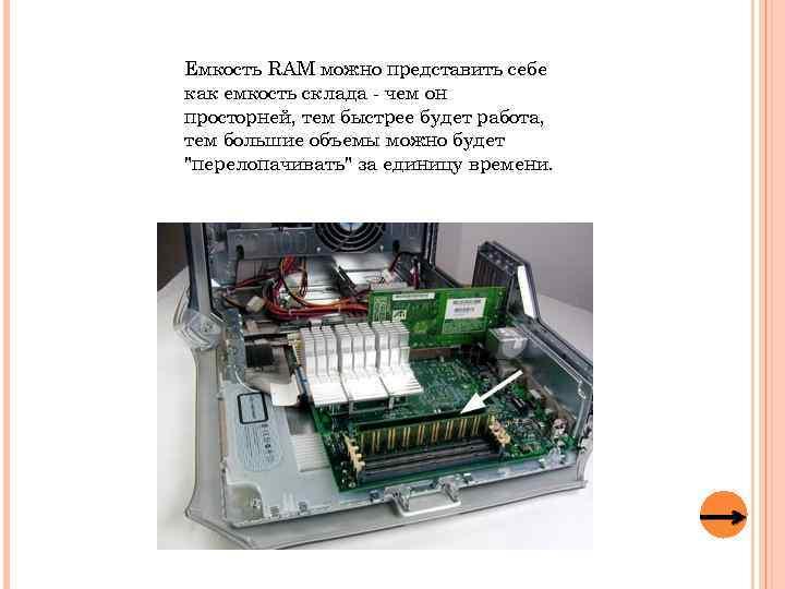 Емкость RAM можно представить себе как емкость склада - чем он просторней, тем быстрее