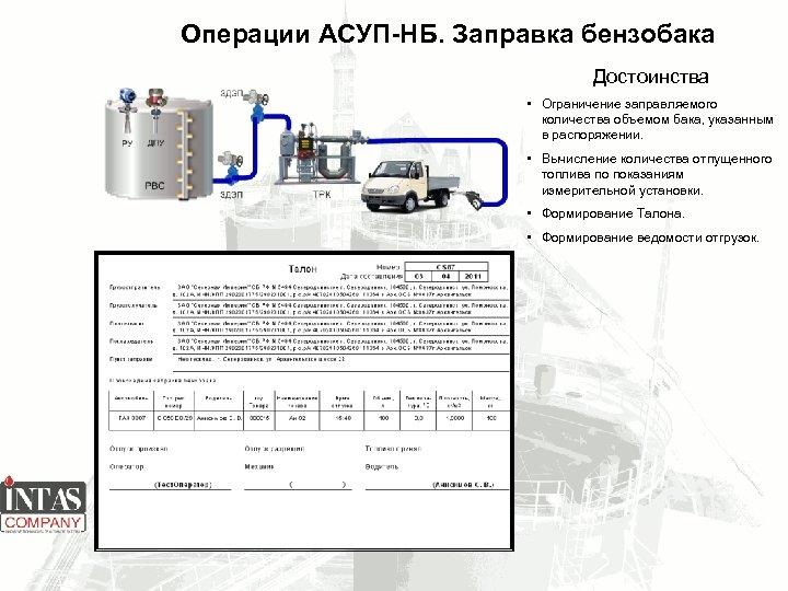 Операции АСУП-НБ. Заправка бензобака Достоинства • Ограничение заправляемого количества объемом бака, указанным в распоряжении.