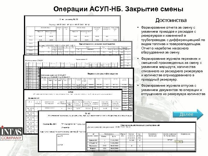 Операции АСУП-НБ. Закрытие смены Достоинства • Формирование отчета за смену с указанием приходов и