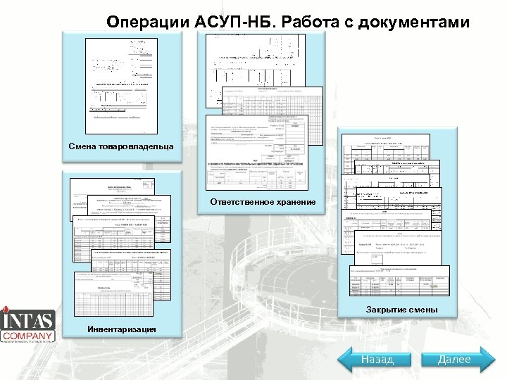 Операции АСУП-НБ. Работа с документами Смена товаровладельца Ответственное хранение Закрытие смены Инвентаризация Назад Далее