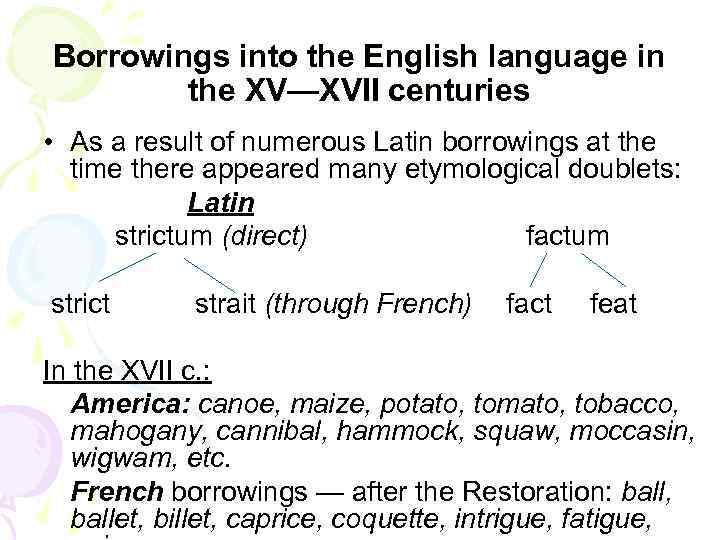 Borrowings into the English language in the XV—XVII centuries • As a result of